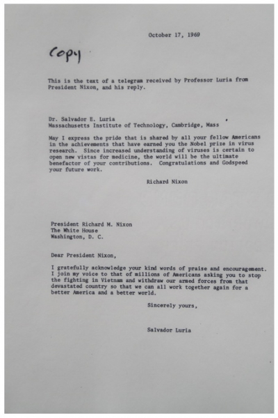 letter to nixon by salvador luria
